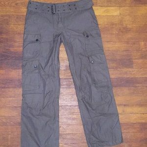 Burberry belted brown cargo cropped pants sz 30